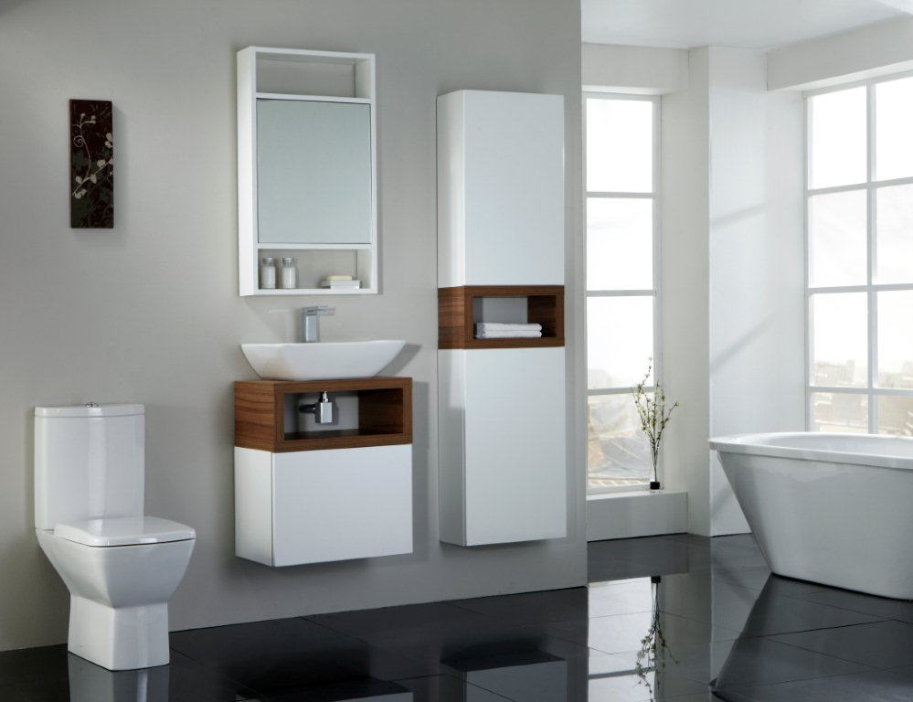 White Wallnut Bathroom Design